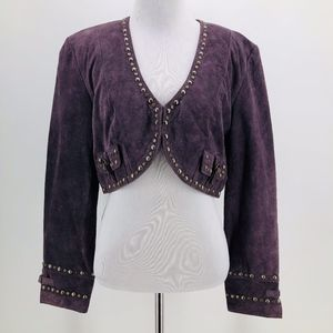 Double D Ranch Purple Suede Leather Studded Jacket